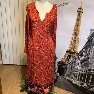 OLD NAVY BOHO MIDI BURNT ORANGE FLORAL DRESS